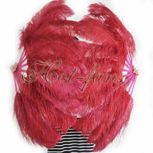 "A pair burgundy Single layer Ostrich Feather fan 24""x 41"" with leather travel Bag - hotfans"