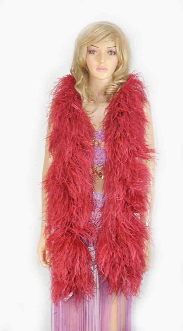 12 ply burgundy Luxury Ostrich Feather Boa 71