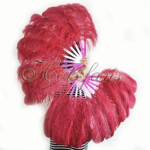 A pair burgundy Single layer Ostrich Feather fan 24