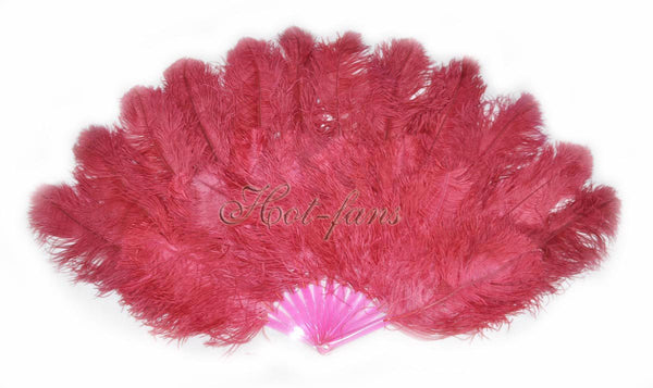 XL 2 Layers burgundy Ostrich Feather Fan 34''x 60'' with Travel leather Bag - hotfans