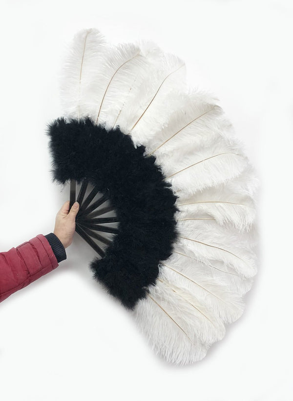 "Black & white Marabou Ostrich Feather fan 21""x 38"" with Travel leather Bag - hotfans"