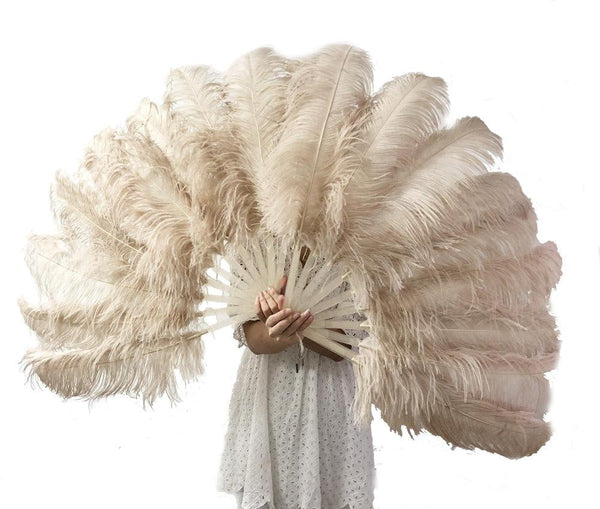 "A pair beige camel Single layer Ostrich Feather fan 24""x 41"" with leather travel Bag - hotfans"