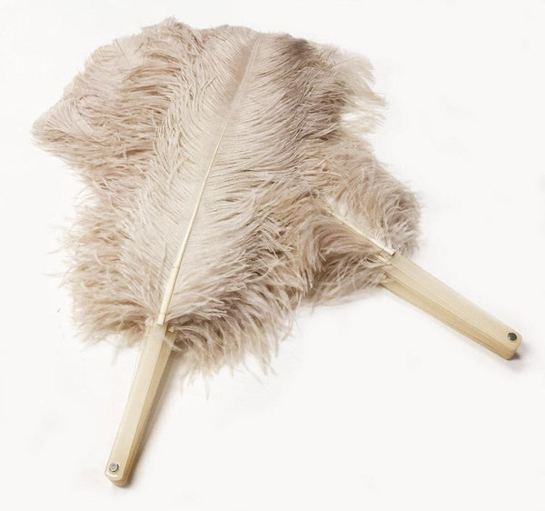 A pair beige camel Single layer Ostrich Feather fan 24