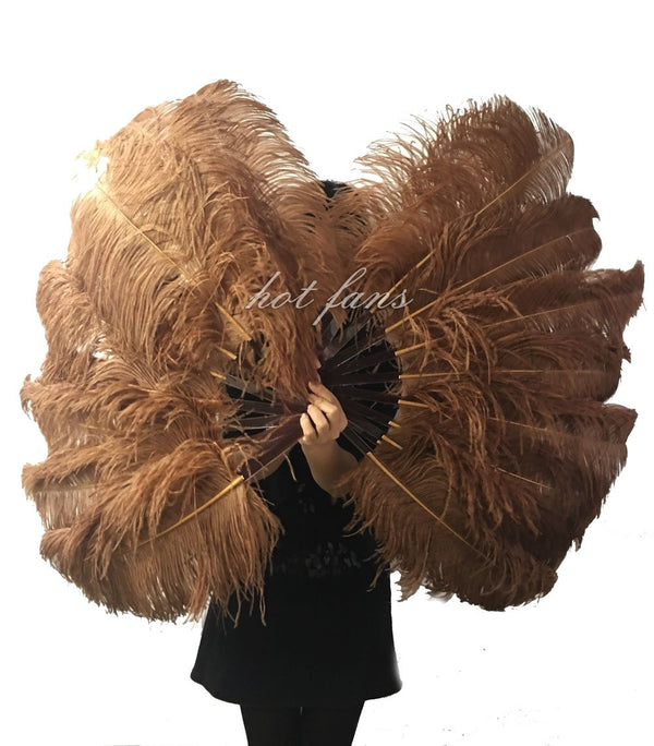 A pair caramel Single layer Ostrich Feather fan 24
