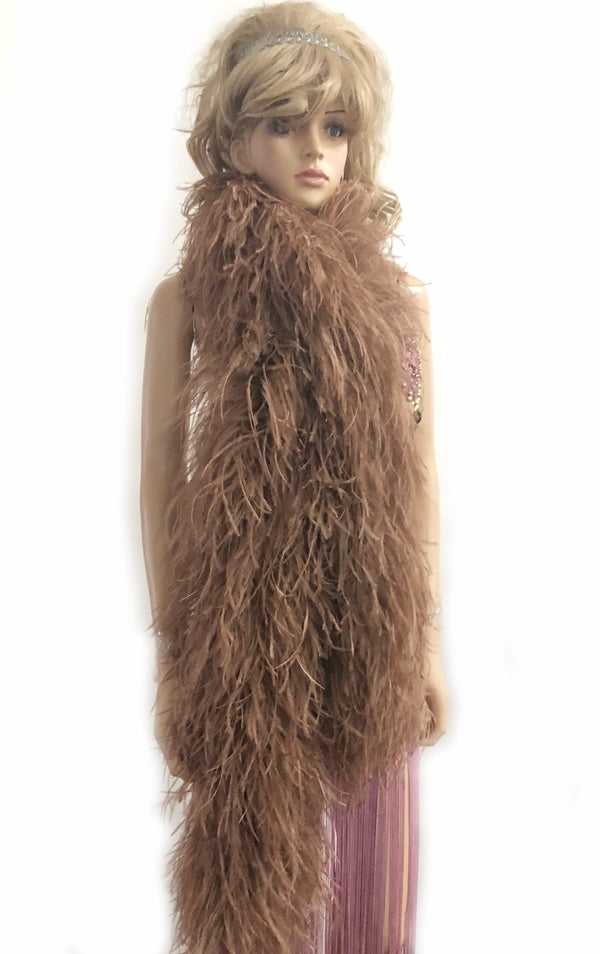 12 ply caramel Luxury Ostrich Feather Boa 71