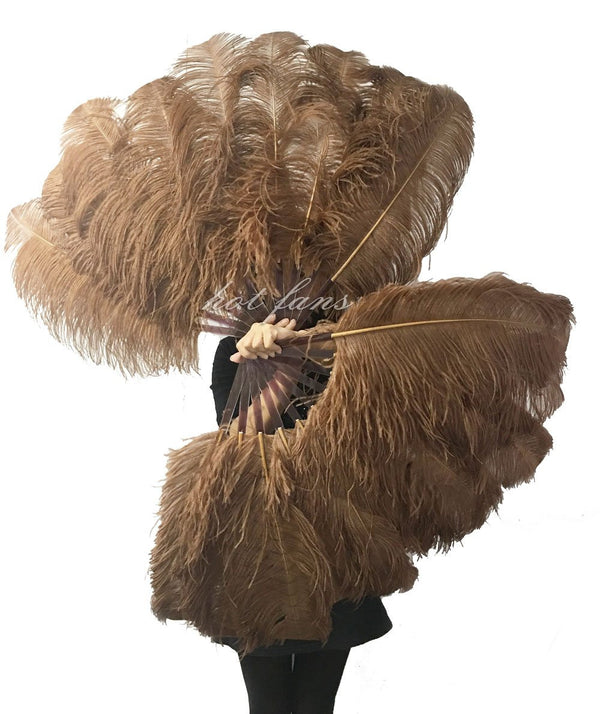 "A pair caramel Single layer Ostrich Feather fan 24""x 41"" with leather travel Bag - hotfans"