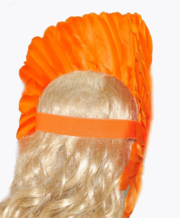 Orange feather sequins crown las vegas dancer showgirl headgear headdress - hotfans