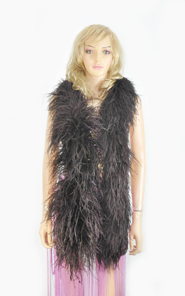 12 ply coffee Luxury Ostrich Feather Boa 71