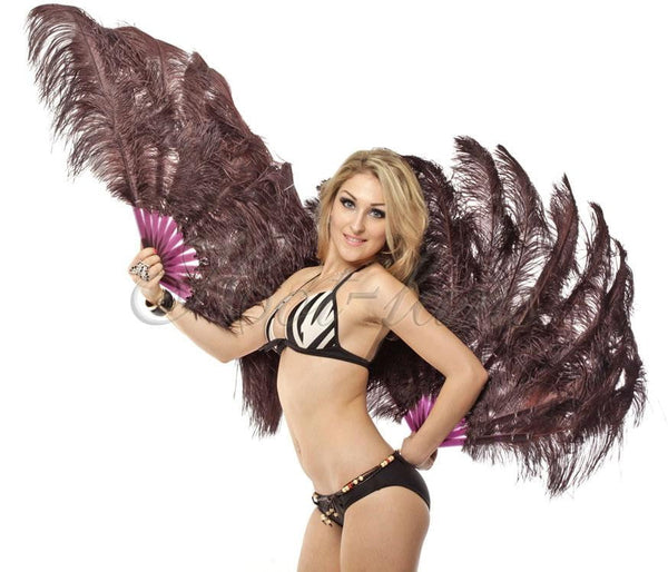 2 layers coffee Ostrich Feather Fan 30