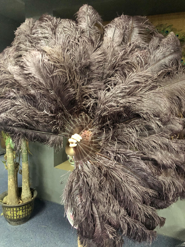 "Coffee 3 Layers Ostrich Feather Fan Opened 65"" with Travel leather Bag - hotfans"