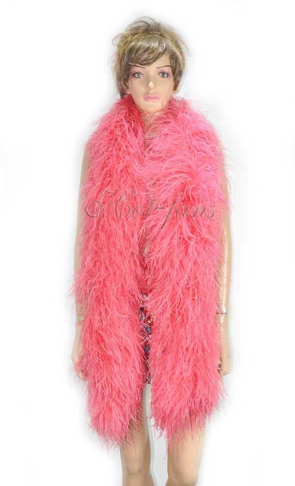 12 ply coral red Luxury Ostrich Feather Boa 71