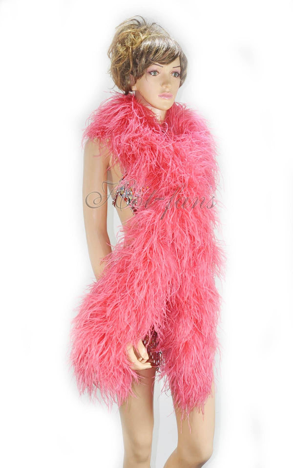 "12 ply coral red Luxury Ostrich Feather Boa 71""long (180 cm) - hotfans"