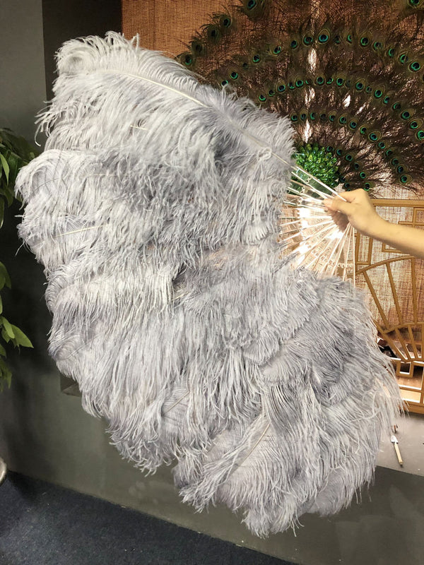 "2 layers dark grey Ostrich Feather Fan 30""x 54"" with leather travel Bag - hotfans"