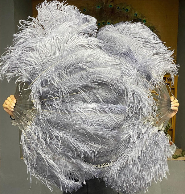 "A pair dark grey Single layer Ostrich Feather fan 24""x 41"" with leather travel Bag - hotfans"