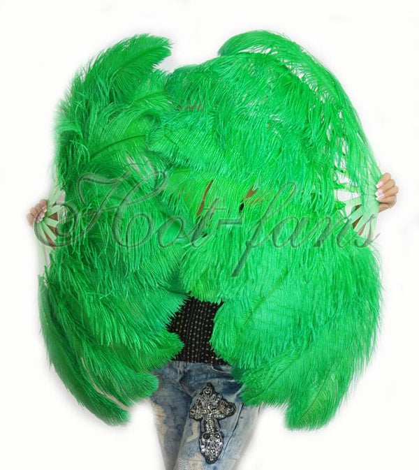 "A pair emerald green Single layer Ostrich Feather fan 24""x 41"" with leather travel Bag - hotfans"