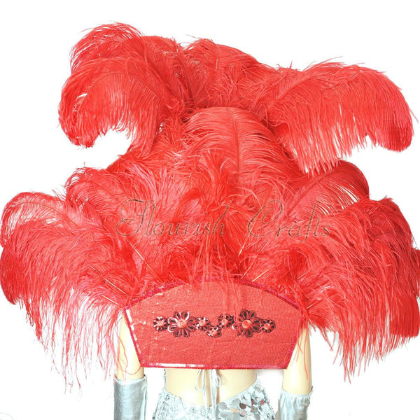 Red Ostrich Feather Open Face Kopfschmuck & Backpiece Set - Hotfans