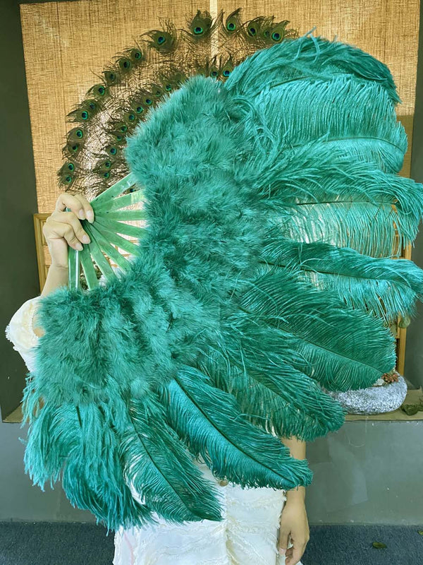 "Forest green Marabou Ostrich Feather fan 24""x 43"" with Travel leather Bag - hotfans"