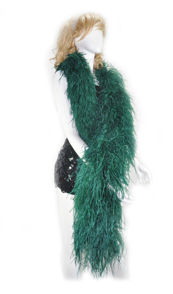 12 ply forest green Luxury Ostrich Feather Boa 71