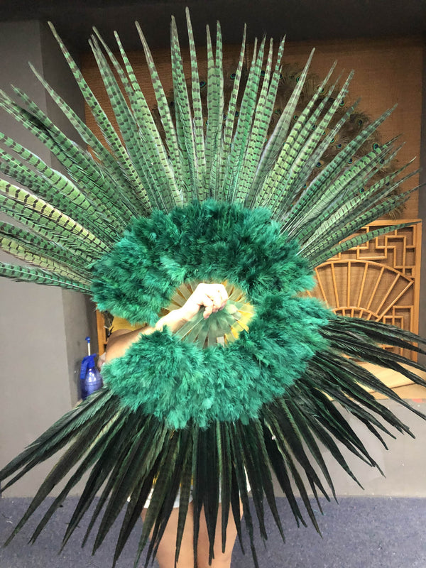 "Forest green Marabou & Pheasant Feather Fan 29""x 53"" with Travel leather Bag - hotfans"