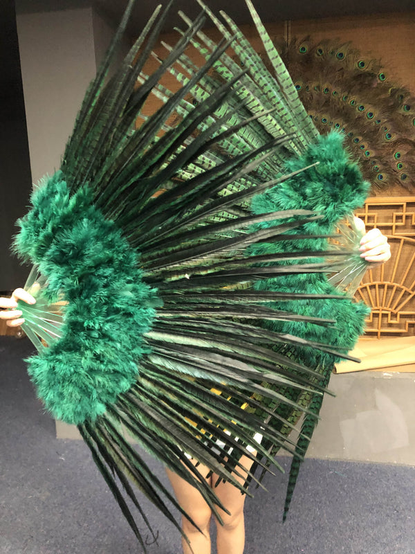 Forest green Marabou & Pheasant Feather Fan 29