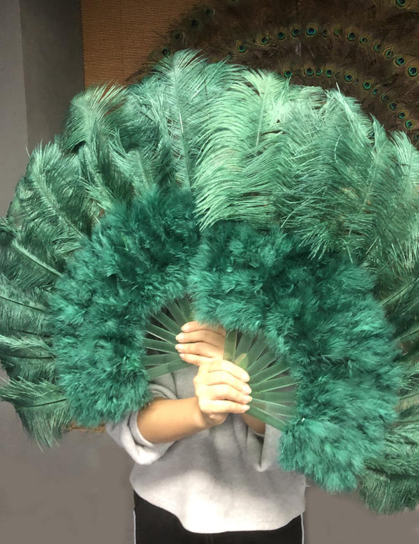 forest green Marabou Ostrich Feather fan 21
