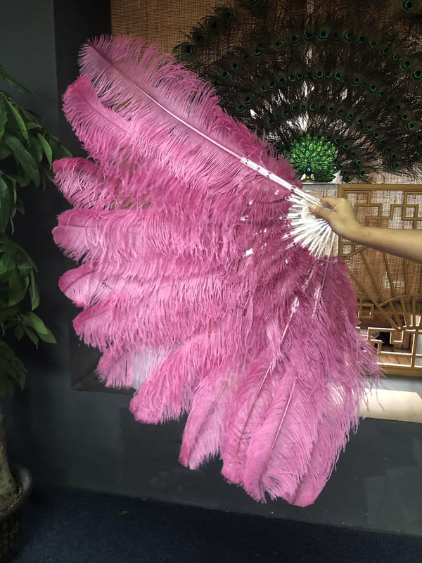 XL 2 Layers fuchsia Ostrich Feather Fan 34''x 60'' with Travel leather Bag - hotfans