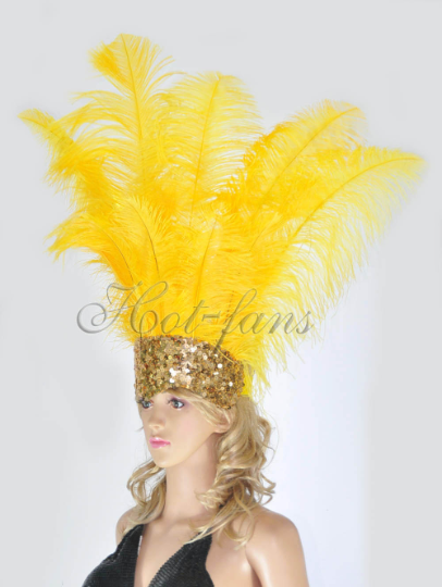 Gold yellow Showgirl Open Face Ostrich feather Headdress - hotfans