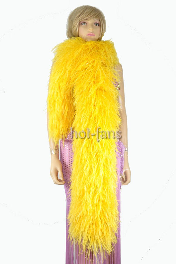 "20 ply gold yellow Luxury Ostrich Feather Boa 71""long (180 cm) - hotfans"