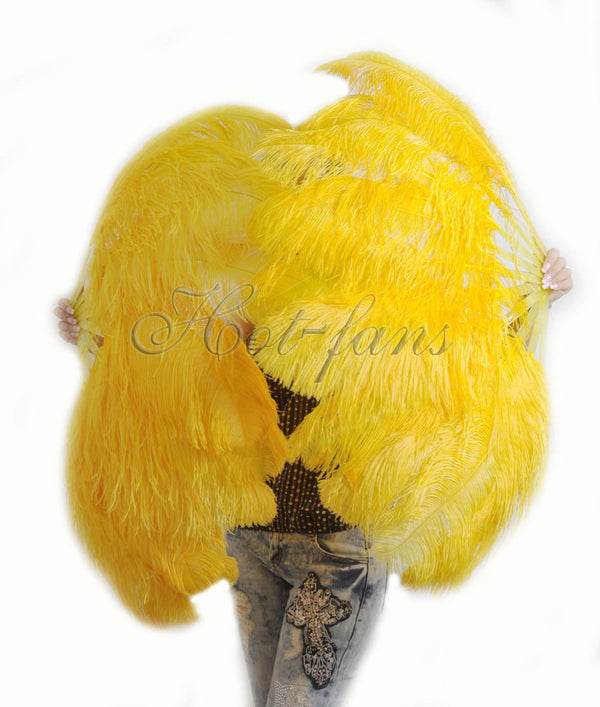 "A pair Gold yellow Single layer Ostrich Feather fan 24""x 41"" with leather travel Bag - hotfans"