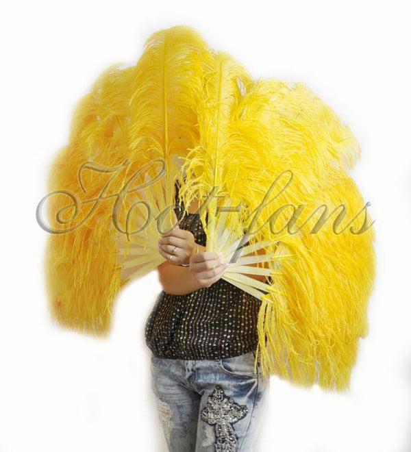 A pair Gold yellow Single layer Ostrich Feather fan 24