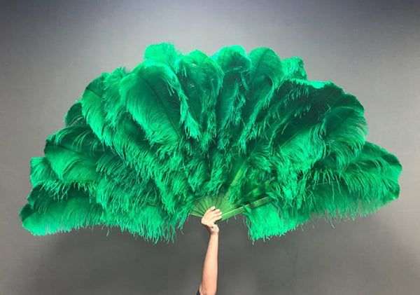 Green 3 Layers Ostrich Feather Fan Opened 65