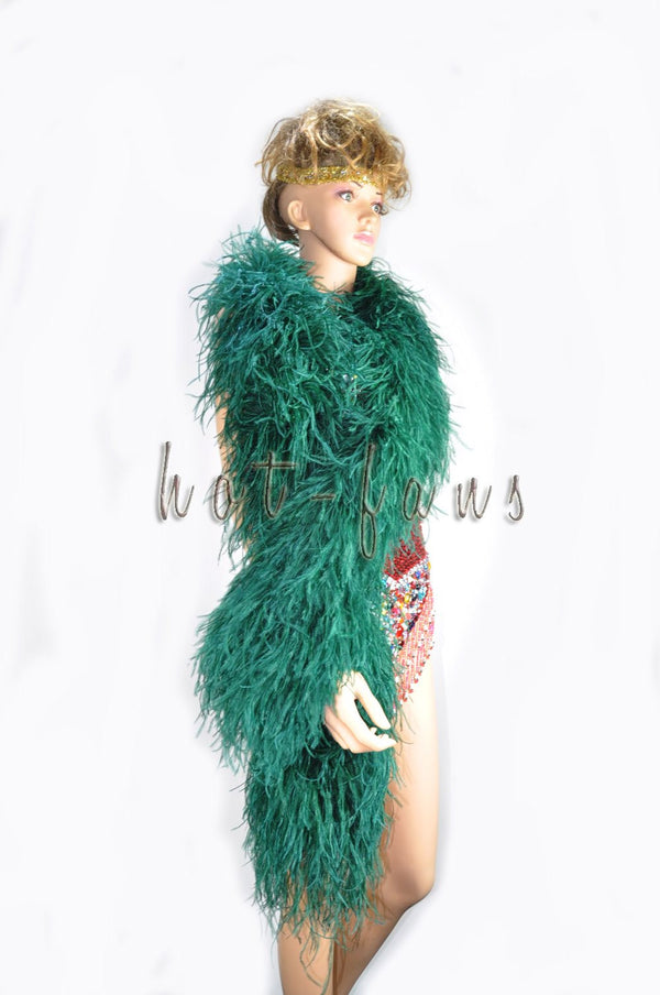 "12 ply forest green Luxury Ostrich Feather Boa 71""long (180 cm) - hotfans"