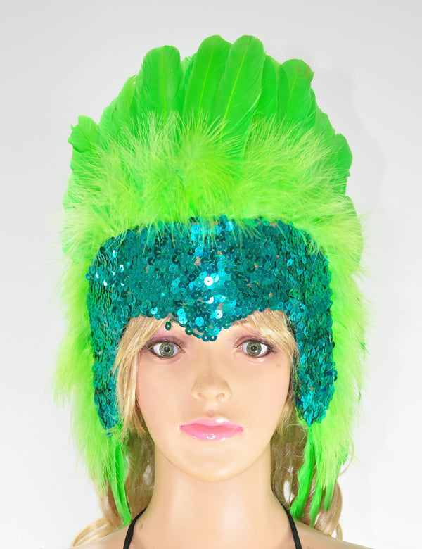 Green feather sequins crown las vegas dancer showgirl headgear headdress - hotfans