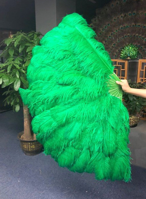 "Green 3 Layers Ostrich Feather Fan Opened 65"" with Travel leather Bag - hotfans"