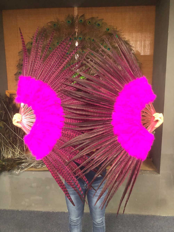 Hot pink Marabou & Pheasant Feather Fan 29