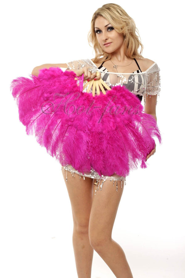 Hot pink Marabou Ostrich Feather fan 21