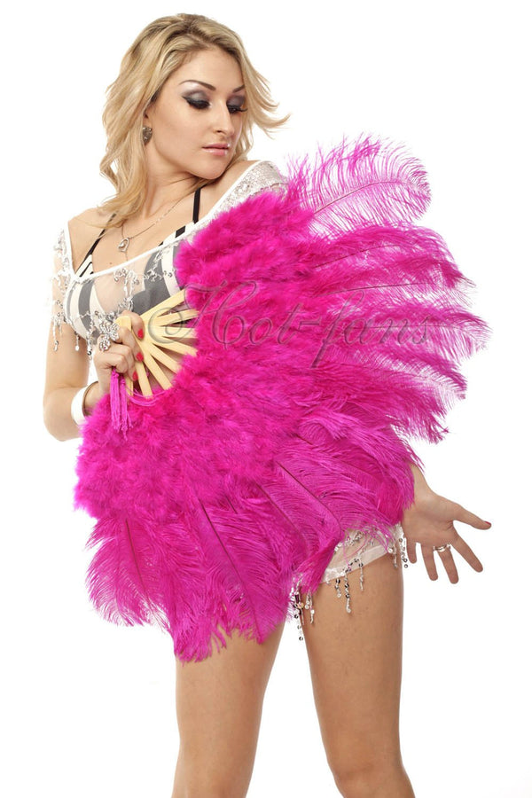 "Hot pink Marabou Ostrich Feather fan 21""x 38"" with Travel leather Bag - hotfans"