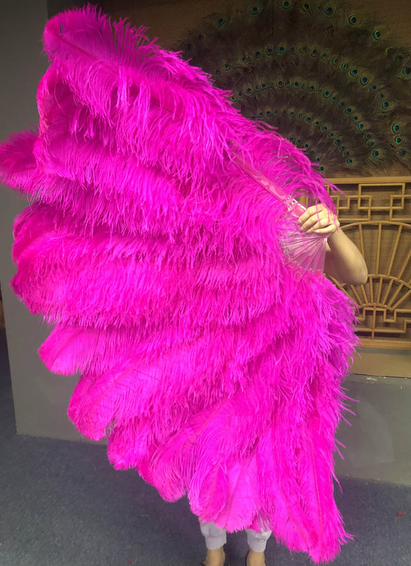 Hot pink 3 Layers Ostrich Feather Fan Opened 65