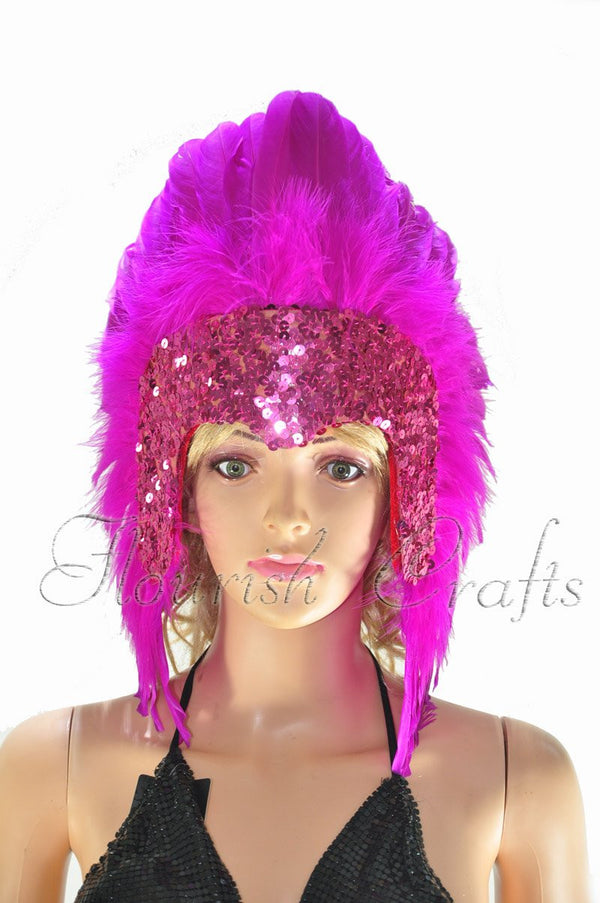 Hot pink feather sequins crown las vegas dancer showgirl headgear headdress - hotfans