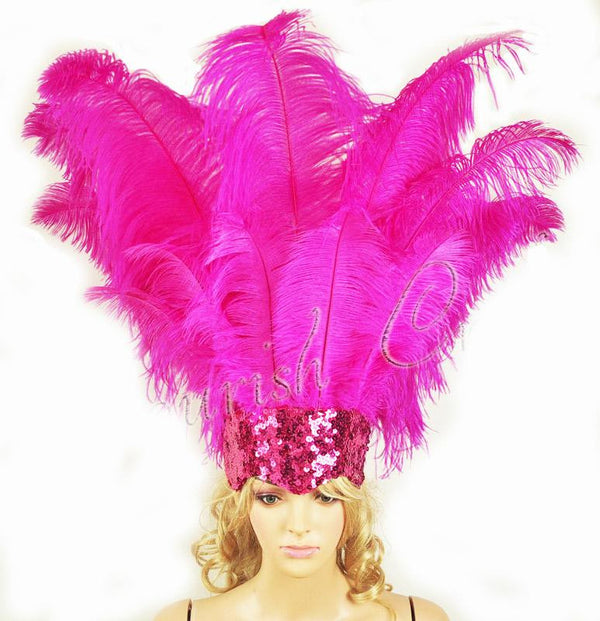 Hot pink Showgirl Open Face Ostrich feather Headdress - hotfans