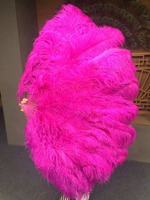 "Hot pink 3 Layers Ostrich Feather Fan Opened 65"" with Travel leather Bag - hotfans"