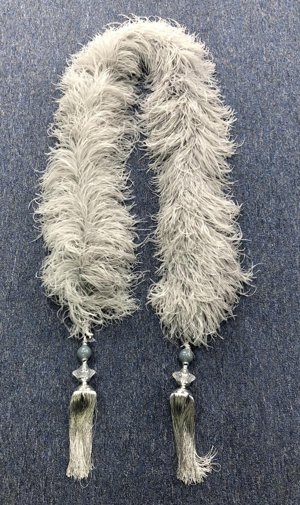 French grey 20 ply  Luxury Ostrich Feather Boa with tassel - hotfans