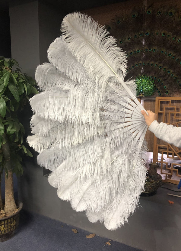 2 layers light grey Ostrich Feather Fan 30