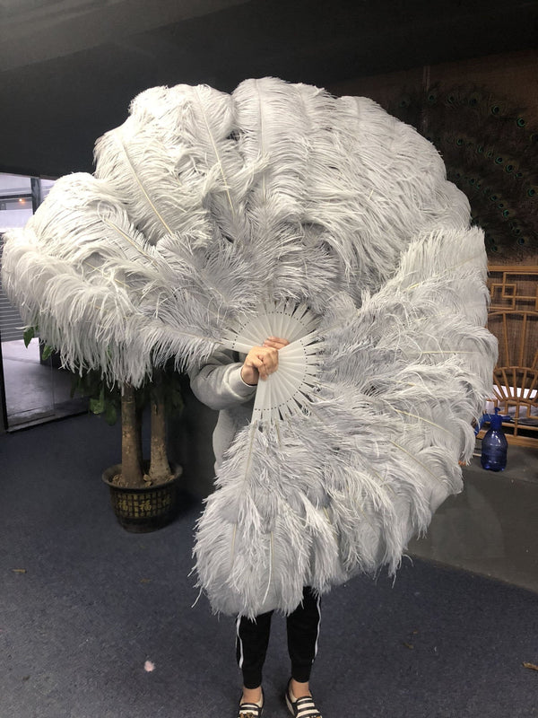 "2 layers light grey Ostrich Feather Fan 30""x 54"" with leather travel Bag - hotfans"