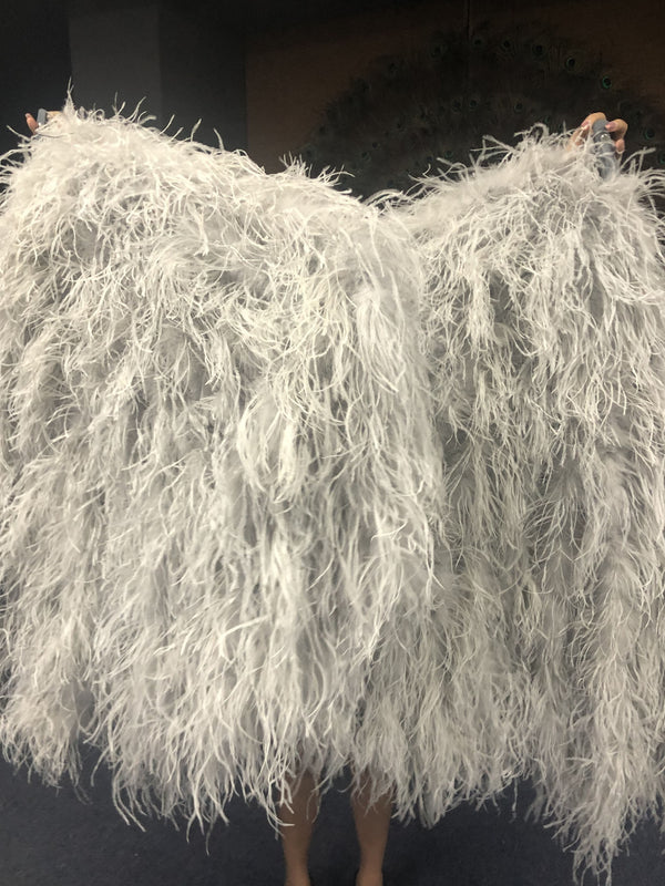 "Burlesque Fluffy Light Grey Waterfall Fan Strudsefjer Boa Fan 42 ""x 78"" - hotfans"