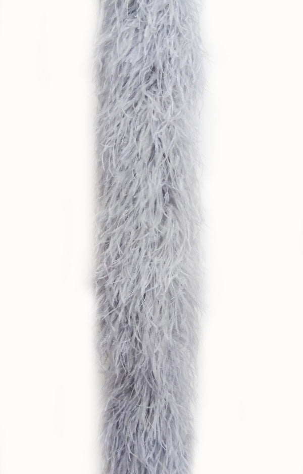 20 ply light grey Luxury Ostrich Feather Boa 71