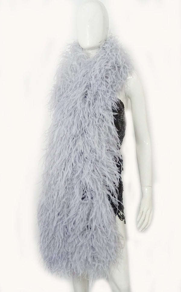"20 ply light grey Luxury Ostrich Feather Boa 71""long (180 cm) - hotfans"