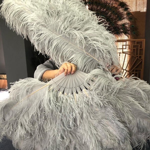 XL 2 Layers light grey Ostrich Feather Fan 34''x 60'' with Travel leather Bag - hotfans