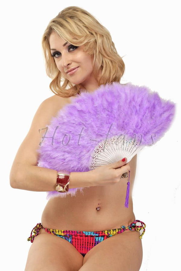 Aqua violet petite Marabou feather fan - hotfans