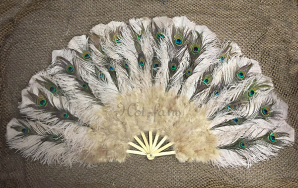 "Beige camel Peacock Marabou Ostrich Feathers Fan 27""x 53"" With Travel leather Bag - hotfans"